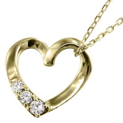 ジュエリー ペンダント オープン ハート レディース 4月誕生石 天然ダイヤモンド k18ゴールド 約0.07ct (ホワイト イエロー ピンク)