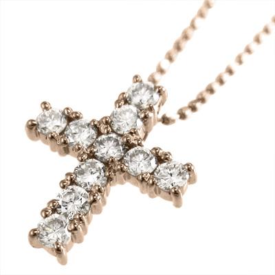 クロス ペンダント ネックレス 4月誕生石 レディース 大人気! 天然ダイヤモンド k10ゴールド 約0.31ct イエロー 大注目 ピンク ホワイト