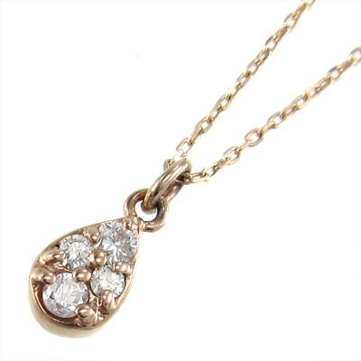 チェーン ペンダント 雫型 レディース 4月誕生石 天然ダイヤモンド ルビー 18kゴールド 約0.07ct (ホワイト イエロー ピンク)
