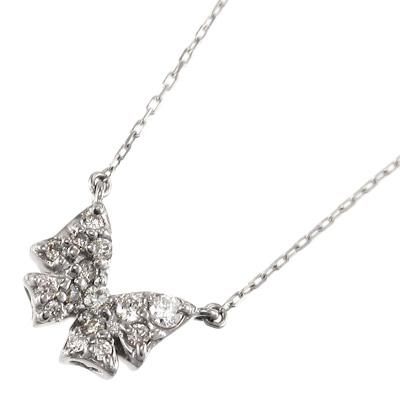 蝶 デザイン 天然ダイヤモンド 約0.12ct 4月誕生石 ジュエリー 商い 在庫一掃売り切りセール ネックレス 10金ゴールド イエロー ピンク ホワイト レディース