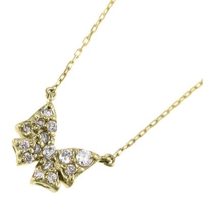 ペンダント ネックレス 蝶 レディース 4月誕生石 天然ダイヤモンド k18ゴールド 約0.12ct (ホワイト イエロー ピンク)