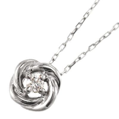 ペンダントネックレス バラ レディース 4月誕生石 天然ダイヤモンド k10ゴールド 約0.03ct (ホワイト イエロー ピンク)