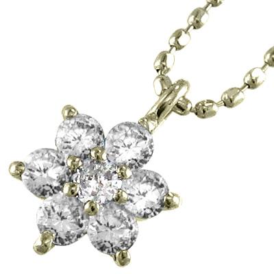 ジュエリーネックレス/ファッションフラワー/レディース/4月誕生石/天然ダイヤモンド/k10ゴールド/約0.21ct (ホワイト イエロー ピンク)