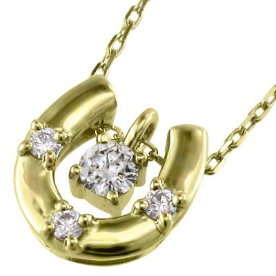 ペンダント ネックレス 馬蹄形 レディース 4月誕生石 天然ダイヤモンド ゴールドk10 約0.10ct (ホワイト イエロー ピンク)