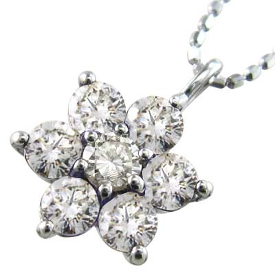 ネックレス フラワー レディース 4月誕生石 天然ダイヤモンド ゴールドk18 約0.70ct 大サイズ (ホワイト イエロー ピンク)