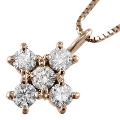 ネックレス クロス メンズ 4月誕生石 天然ダイヤモンド 18kゴールド 約0.50ct (ホワイト イエロー ピンク)