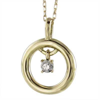 甲丸ペンダント レディース 4月誕生石 天然ダイヤモンド k10ゴールド 約0.08ct (ホワイト イエロー ピンク)