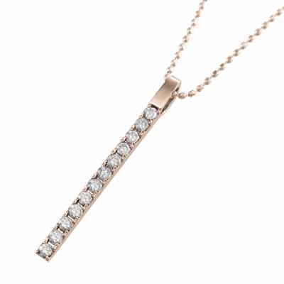 ネックレス プレート レディース 4月誕生石 天然ダイヤモンド ゴールドk18 約0.24ct 大サイズ (ホワイト イエロー ピンク)