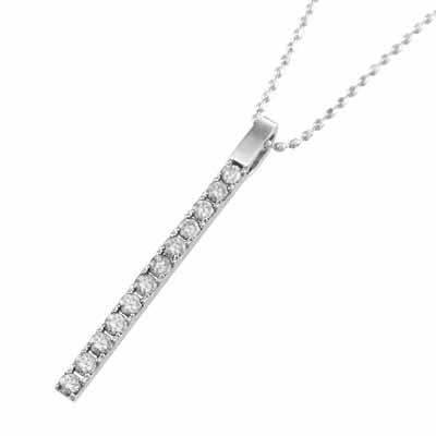 ペンダント ネックレス プレート レディース 4月誕生石 天然ダイヤモンド Pt900 約0.24ct 大サイズ