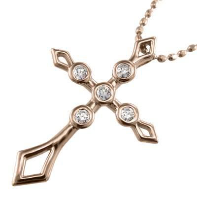 ジュエリー ネックレス クロス デザイン レディース 4月誕生石 天然ダイヤモンド 18kゴールド 約0.07ct (ホワイト イエロー ピンク)