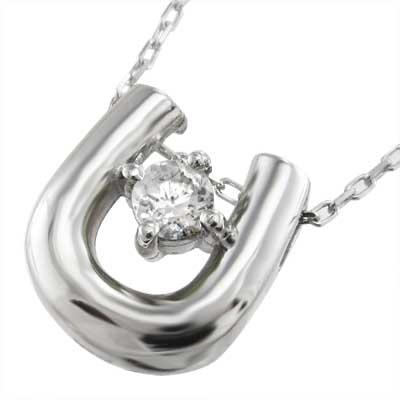 ネックレス 馬蹄 レディース 4月誕生石 天然ダイヤモンド プラチナ900 約0.10ct