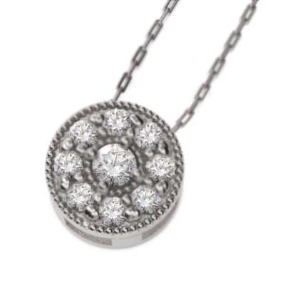 ペンダントネックレス プラチナ900 天然ダイヤモンド 4月誕生石 ミル打ち 【送料無料】