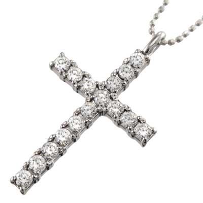 ネックレス クロス メンズ 4月誕生石 天然ダイヤモンド 白金(プラチナ)900