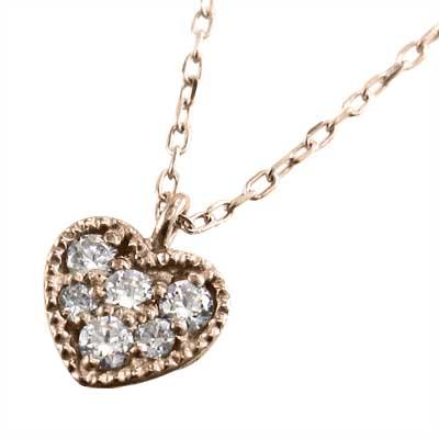 ジュエリー ペンダント ぷち ハート レディース 4月誕生石 天然ダイヤモンド k18ゴールド (ホワイト イエロー ピンク)
