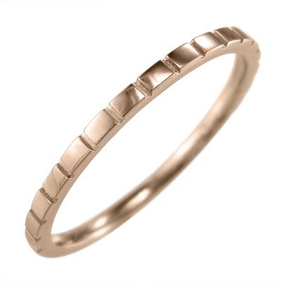 丸い 指輪 レディース 18kゴールド 約1.4mm幅 ハーフ溝入り (ホワイト イエロー ピンク)