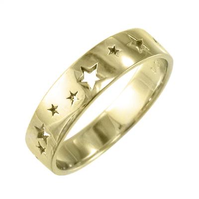 星 型抜き 平打ち 指輪 平打ち 指輪 星 型抜き レディース k18ゴールド (ホワイト イエロー ピンク)