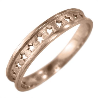 平らな指輪 星抜き デザイン k10ゴールド 約3mm幅 (ホワイト イエロー ピンク)