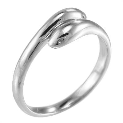 リング 蛇 メンズ k10ゴールド 双頭 (ホワイト イエロー ピンク)