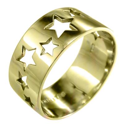 人気新品入荷 平らな指輪 星抜き 平らな指輪 デザイン レディース 18kゴールド 特大サイズ 約1cm幅 18kゴールド (ホワイト イエロー レディース ピンク), GP SPORTS:40a16b3a --- promilahcn.com