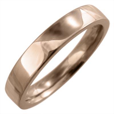 平打ち 指輪 10kゴールド 約4mm幅 (ホワイト イエロー ピンク)