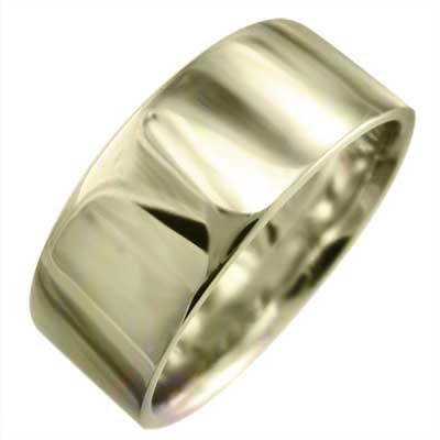 平たい リング メンズ メンズ k10ゴールド 約7mm幅 大きめサイズ 厚さ約1.4mm (ホワイト イエロー ピンク)