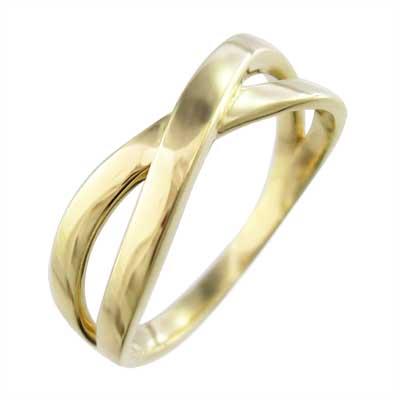 指輪 クロス ヘッド 18金ゴールド X型 (ホワイト イエロー ピンク)