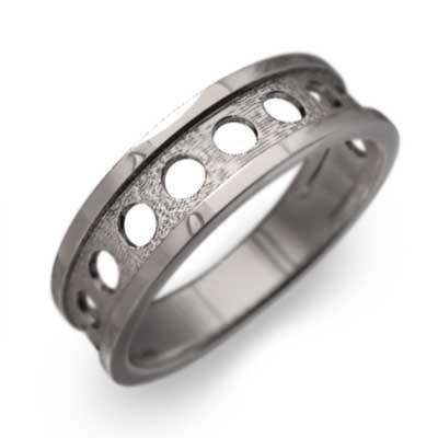 指輪 丸 型抜き メンズ k10ゴールド (ホワイト イエロー ピンク)