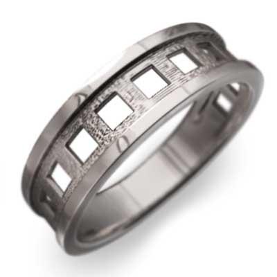 指輪 四角抜き デザイン メンズ k10ゴールド (ホワイト イエロー ピンク)