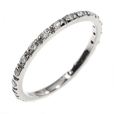 ハーフ 一文字 リング レディース 4月誕生石 天然ダイヤモンド Pt900 約0.13ct