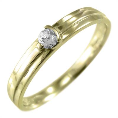 指輪 レディース 4月誕生石 天然ダイヤモンド ゴールドk18 約0.10ct (ホワイト イエロー ピンク)