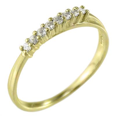 ハーフ エタニティリング レディース 4月誕生石 天然ダイヤモンド 10kゴールド 約0.12ct (ホワイト イエロー ピンク)