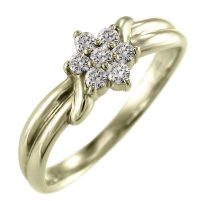 リング フラワー レディース 4月誕生石 天然ダイヤモンド k10ゴールド 約0.23ct (ホワイト イエロー ピンク)
