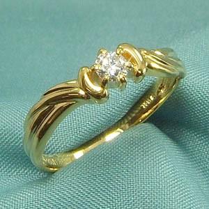 指輪 レディース 4月誕生石 天然ダイヤモンド 10金ゴールド 約0.13ct (ホワイト イエロー ピンク)