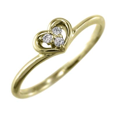 リング ハート 4月誕生石 天然ダイヤモンド 10kゴールド 約0.03ct (ホワイト イエロー ピンク)