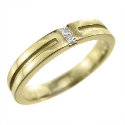 平打ち リング レディース 4月誕生石 天然ダイヤモンド 18kゴールド 約0.04ct 約3mm幅 プリンセスカット (ホワイト イエロー ピンク)