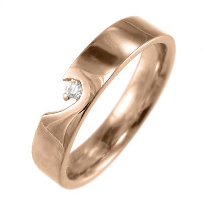 リング ハート レディース 4月誕生石 天然ダイヤモンド k10ゴールド 約0.02ct ハートの片割れ (ホワイト イエロー ピンク)