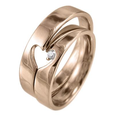 ペア 指輪 平らな指輪 スウィート ハート 4月誕生石 天然ダイヤモンド 10kゴールド 約0.02ct 2つでハートが現れます (ホワイト イエロー ピンク)