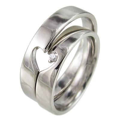 ペア 指輪 平たい リング スイート ハート 4月誕生石 天然ダイヤモンド 18kゴールド 約0.02ct 2つでハートが現れます (ホワイト イエロー ピンク)