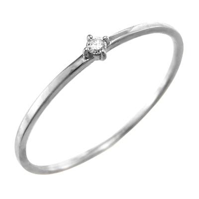 指輪 4月誕生石 天然ダイヤモンド 18金ゴールド 約0.03ct 約1mm幅 極細 (ホワイト イエロー ピンク)