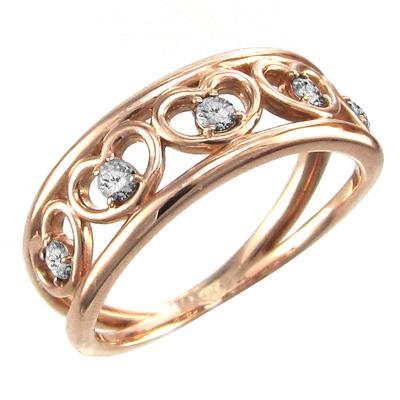 リング ハート メンズ 4月誕生石 天然ダイヤモンド k10ゴールド 約0.25ct 5連ハート (ホワイト イエロー ピンク)