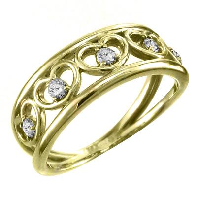 指輪 ハート 型 メンズ 4月誕生石 天然ダイヤモンド 18kゴールド 約0.25ct 5連ハート (ホワイト イエロー ピンク)