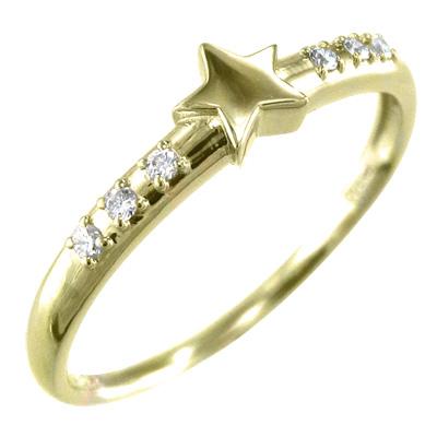ピンキー 小指 リング Star スター 4月誕生石 天然ダイヤモンド 10金ゴールド 約0.06ct (ホワイト イエロー ピンク)