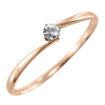 指輪 ブライダルリングにも レディース 4月誕生石 天然ダイヤモンド k10ゴールド 約0.05ct (ホワイト イエロー ピンク)