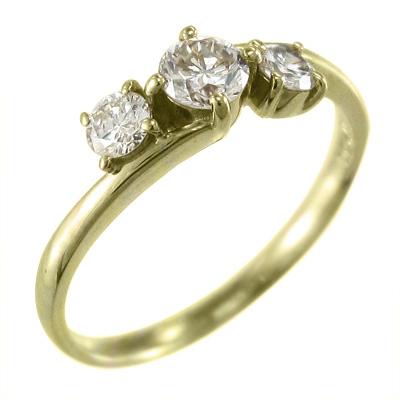 指輪 ブライダルリング にも レディース 4月誕生石 天然ダイヤモンド k10ゴールド 約0.40ct (ホワイト イエロー ピンク)