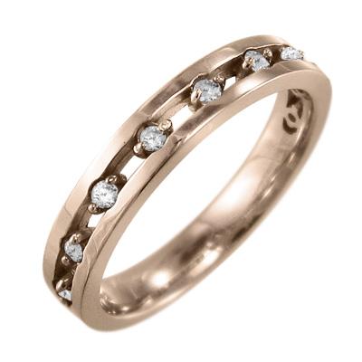 リング レディース 4月誕生石 天然ダイヤモンド ゴールドk18 約0.13ct 9ピース (ホワイト イエロー ピンク)