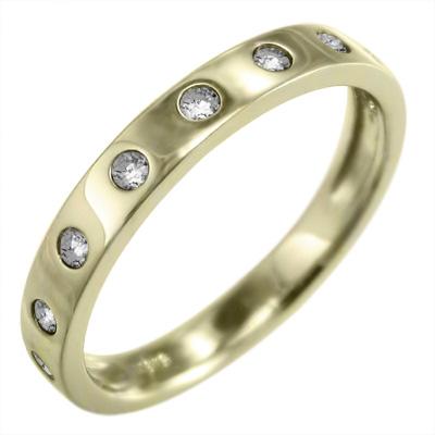 指輪 メンズ 4月誕生石 天然ダイヤモンド 18金ゴールド 約0.12ct 9ピース (ホワイト イエロー ピンク)