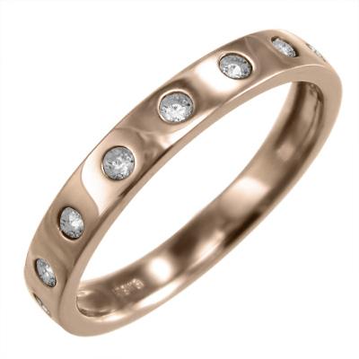リング レディース 4月誕生石 天然ダイヤモンド 18kゴールド 約0.12ct 9ピース (ホワイト イエロー ピンク)