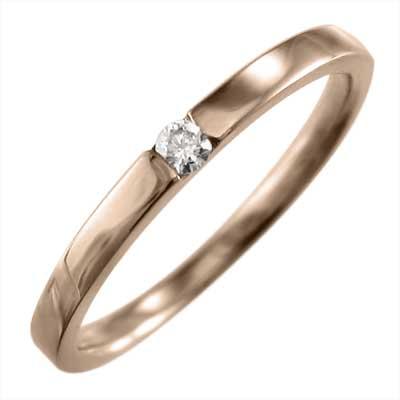 平たい リング ブライダルリングにも メンズ 4月誕生石 天然ダイヤモンド k10ゴールド 約0.05ct (ホワイト イエロー ピンク)