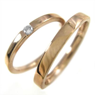 ペア 指輪 平たい リング レディース 4月誕生石 天然ダイヤモンド k10ゴールド 約0.05ct (ホワイト イエロー ピンク)