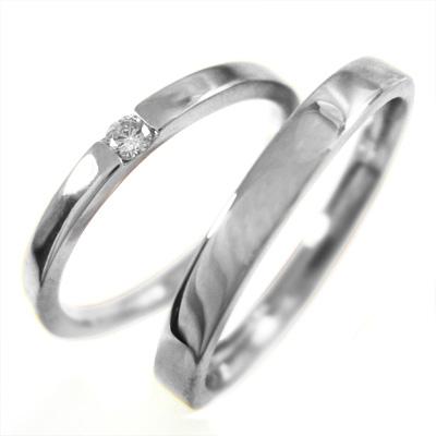 レディスメンズリング 平打ち指輪 レディース 4月誕生石 天然ダイヤモンド プラチナ900 約0.05ct